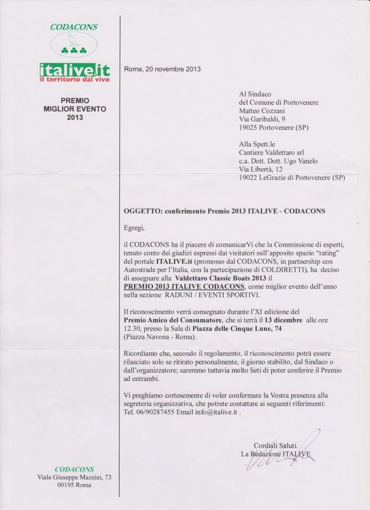 Codacons Italive PREMIO 2013 - VALDETTARO CLASSIC BOATS 001